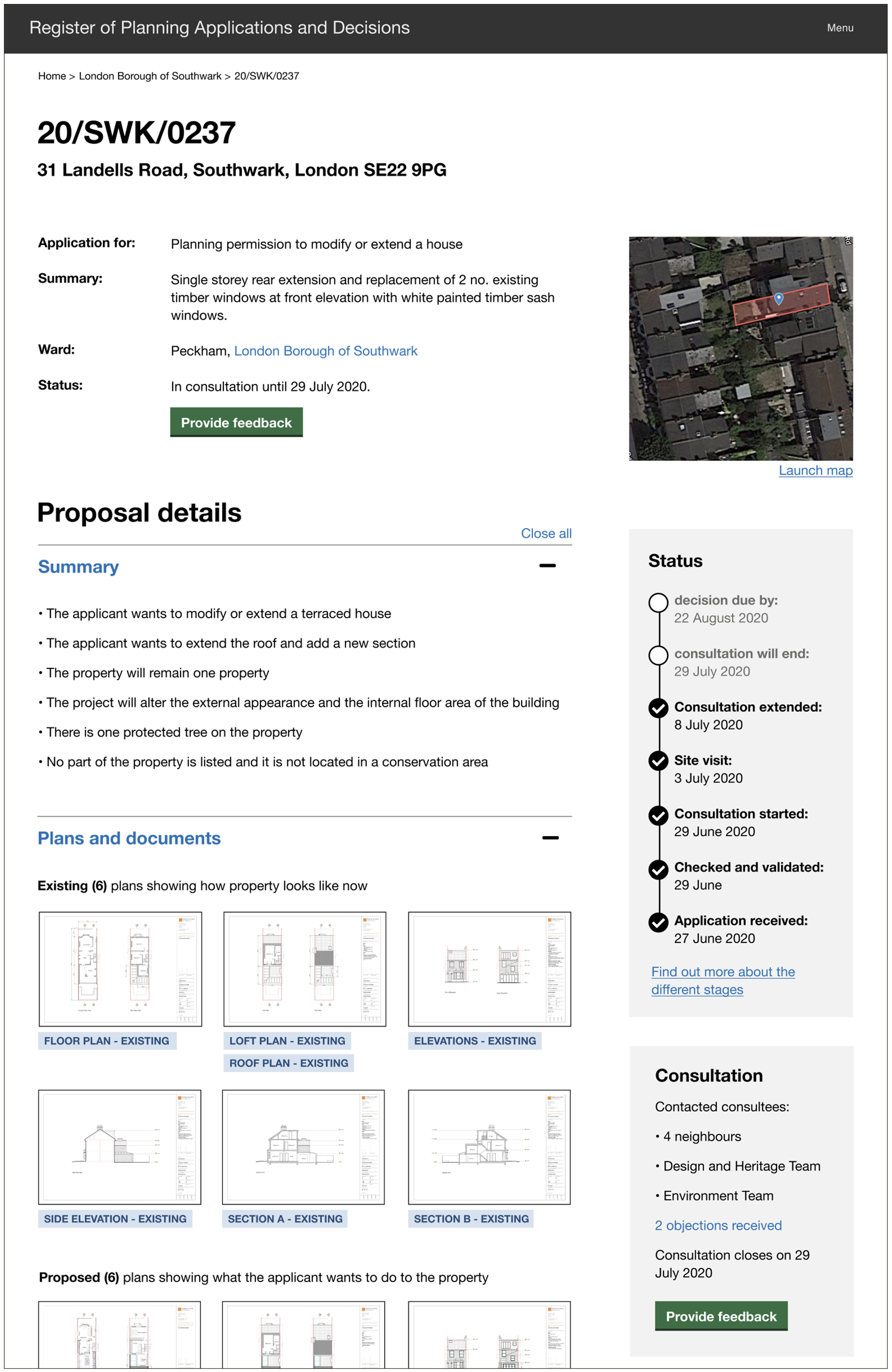 Screenshot of prototype showing a web page with information about a planning application including details about the proposal, the address, a map, the drawing that the applicant submitted with their application, and the status of the application.