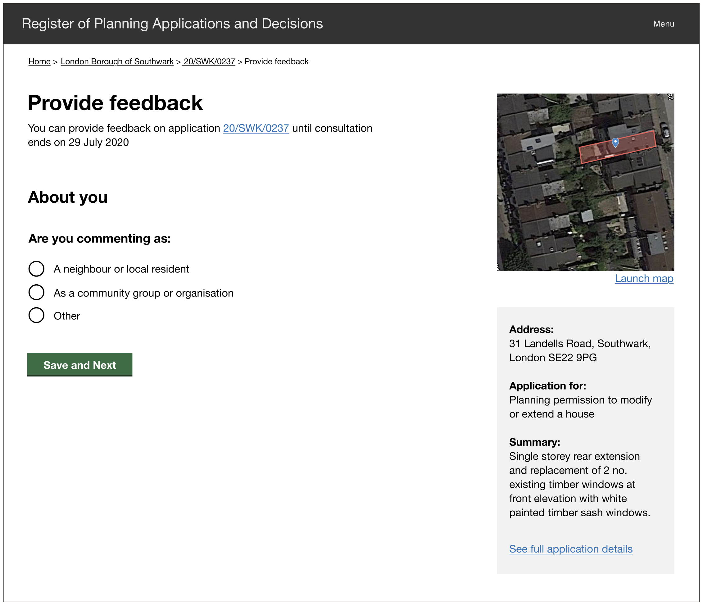 Screenshot from prototype showing the first step on a consultation feedback form, asking users to choose the capacity in which they are commenting. They can choose one of three options: a neighbour or local resident, a community group or organisation, other.