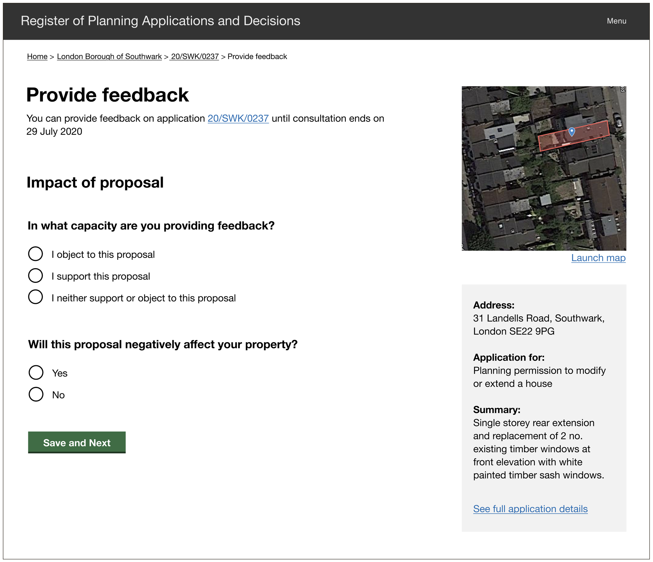 Screenshot from prototype showing the second step on a consultation feedback form, asking users whether they are objecting, supporting or neutral about the proposal. The second question asks whether the proposal will have a negative affect on the user's own property.