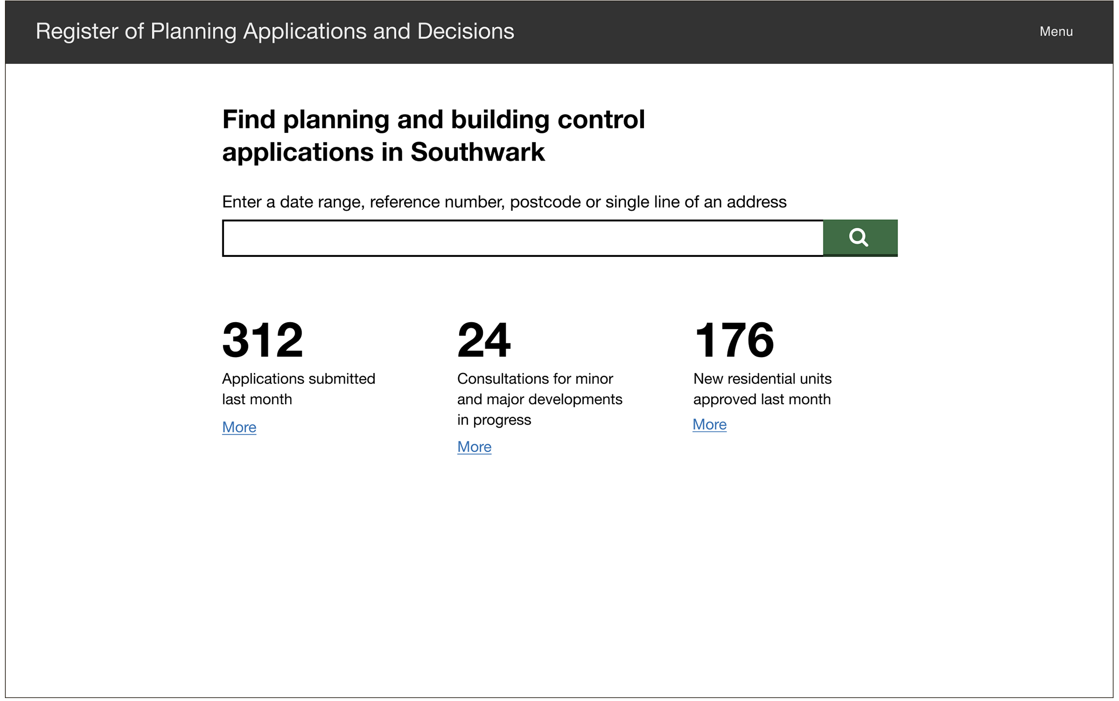 Screenshot from prototype showing a search page to search planning applications in the UK